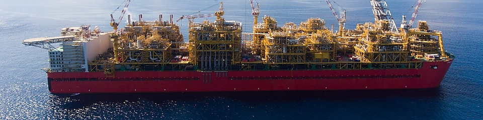 Side profile of Prelude FLNG on station north west coast of Australia
