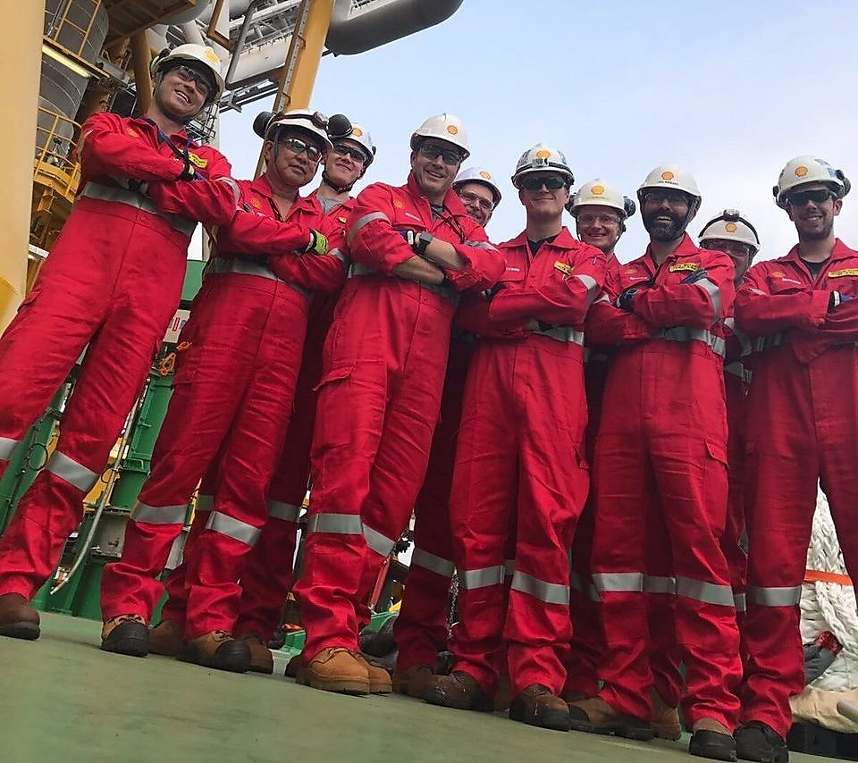 Prelude FLNG workers posing