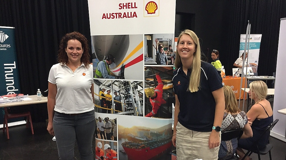 Kara Frazer Prelude Social Performance Advisor & Mollie O'Connor Contracts Specialist engage with local schools at the Broome Careers Expo