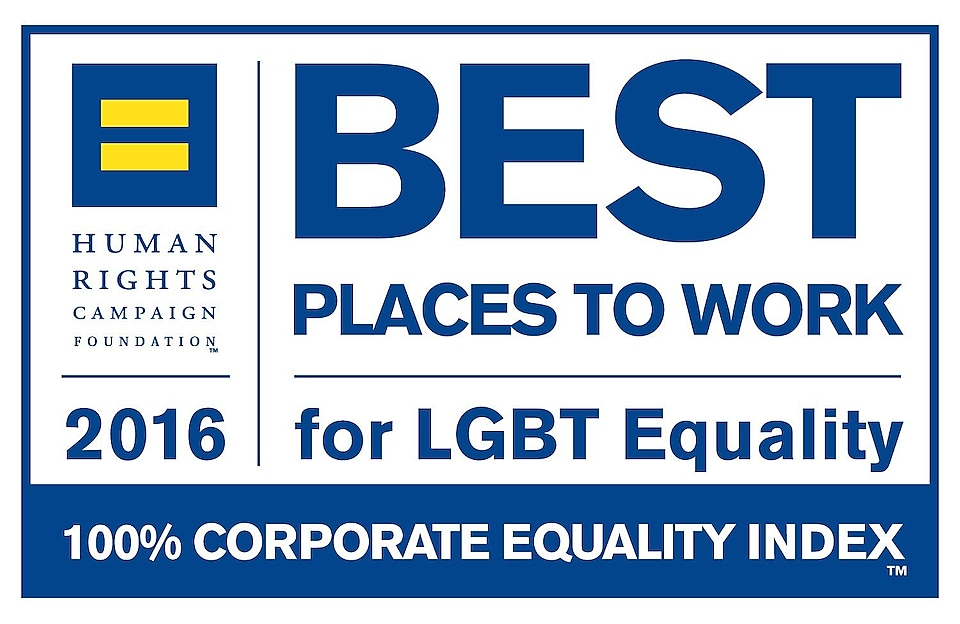 This image shows text which reads: Human rights campaign foundation 2016. Best place to work for LGBT equiality. 100% corporate equality index.