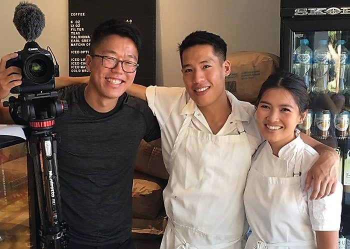 Jun Song with two chefs