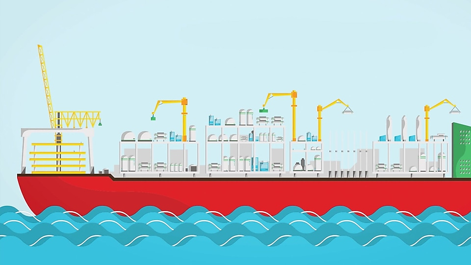 An illustration of a floating liquefied natural gas facility